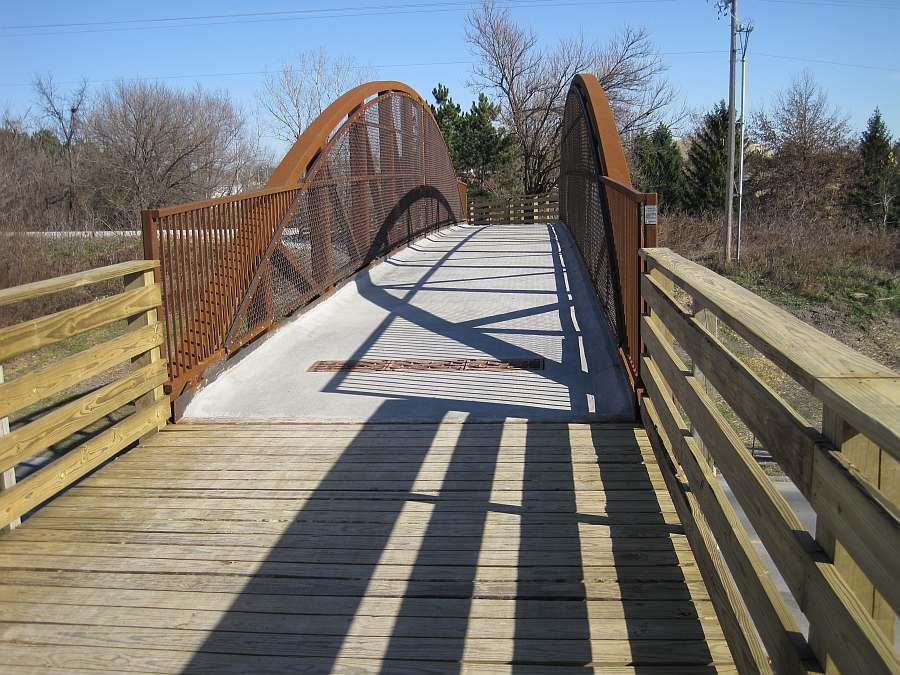 Bridge contractors built and installed the bridge, which is built from maintenance-free steel