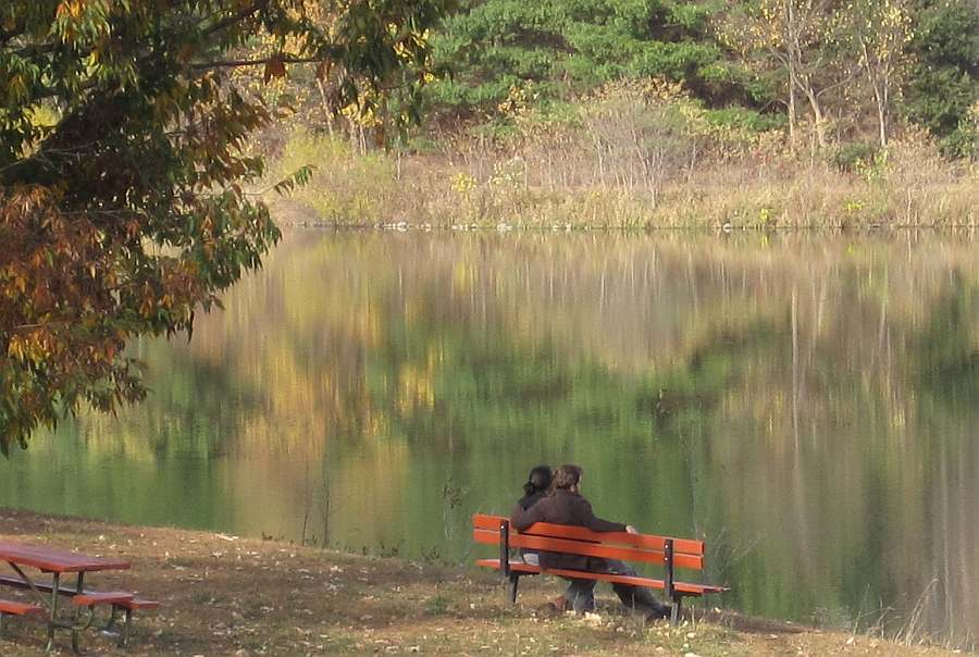 Watching the leaves change color at Waterworks Park, Nov 2011.