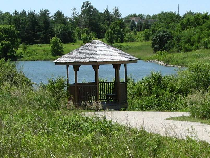 The gazebo at the north end of Waterworks Park.