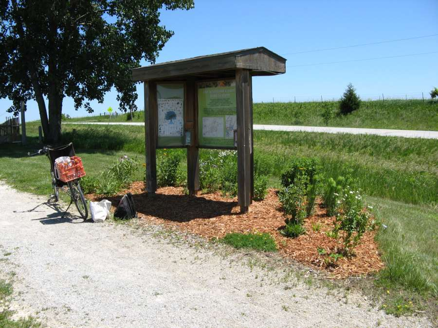 The kiosk at the parking lot off Pleasant Plain Road.