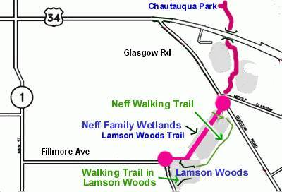 Lamson Woods/Neff wetlands Walking trails Map