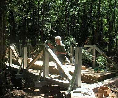 One of three bridges volunteers built on the Crow Creek segment